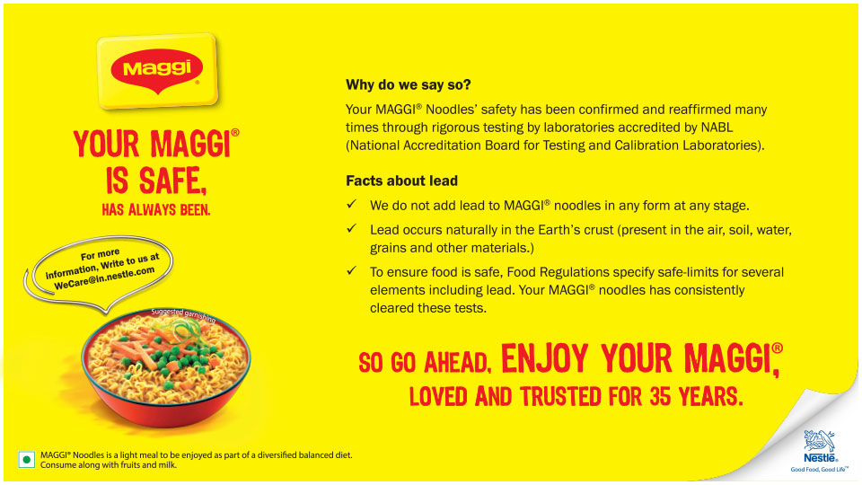 Your MAGGI is Safe, Has Always Been.